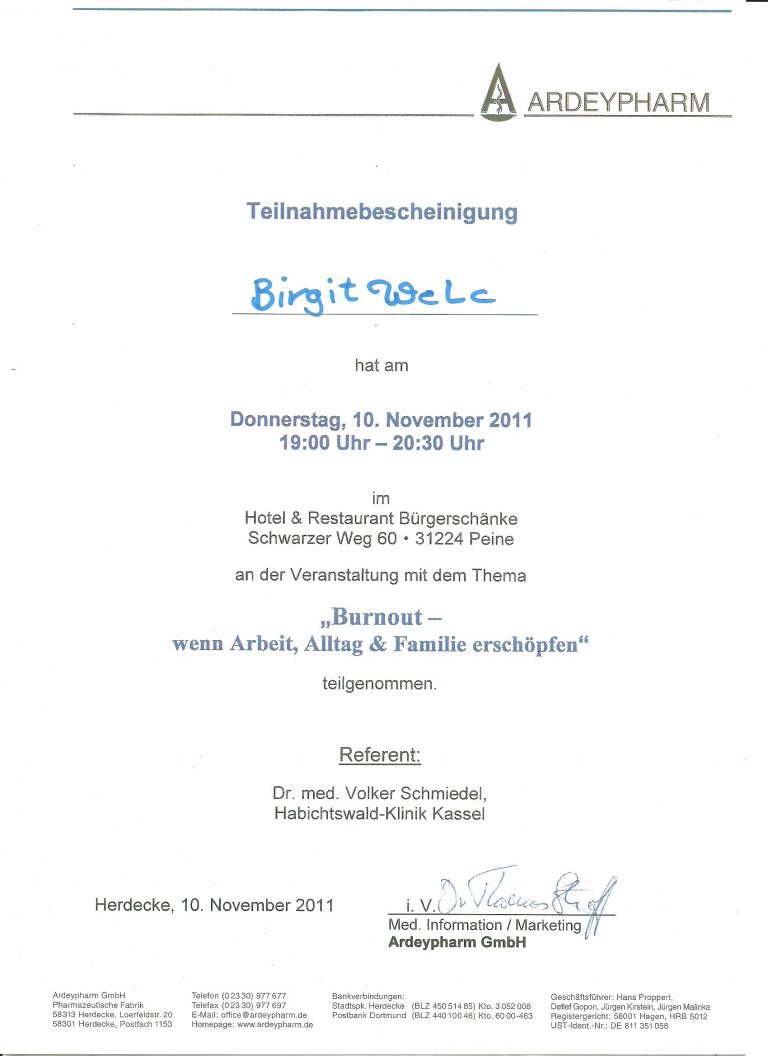 Zertifikat Burnout Heilpraktikerin Birgit Welc